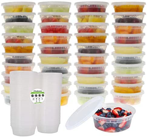 Freshware Food Storage Containers with Lids [40 Pack, 8oz] - Plastic Containers, Deli, Slime, Soup, Meal Prep Containers   BPA Free   Stackable   Leakproof   Microwave/Dishwasher/Freezer Safe