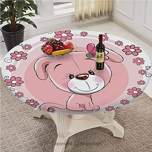 AngelSept-LJH Table Cloth Round 43 Inch to 78 Inch Elastic Edge Fitted Table Cover,Full-Size,Dog,Cute Little Puppy with Daisy Flowers Cheerful Adorable Pet Girls Room Decor,Light Pink Coral White