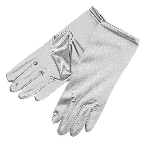 (ZaZa Bridal Shiny Stretch Satin Dress Gloves Wrist Length 2BL-Silver)