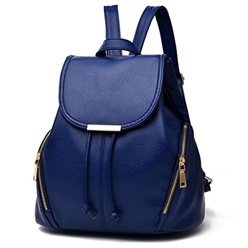 Fashion School Leather Backpack Shoulder Bag Backpack for Women & Girls Casual (Style 1 blue)