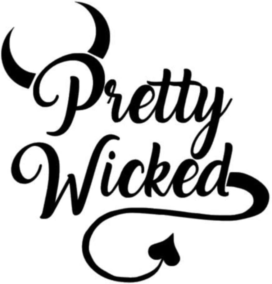 Pretty Wicked Devil Horns Tail Vinyl Decal Sticker Home Wall Cup Decor Choice