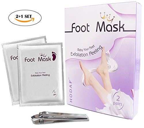 2 Pairs Foot Peel Mask with 1 Pack Nail Clipper ,Exfoliating Calluses and Dead Skin Remover, Best Natural Foot Care Peeling Moisturizing Mask for Men&Women, Get Smooth foot in 1-2 Weeks (2+1SET)