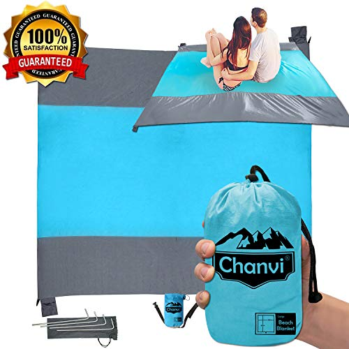 (Chanvi Large Beach Blanket Handy Sand Mat- Extra Size 9' x 10' Holds 7 Adults with Strap - Perfect for Picnics, Beaches, RV, Outings, Camping, Hiking and Music Festival(Blue))