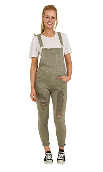 e654e65fe6 Green Distressed Denim Dungarees - Skinny Fit Ladies Bib Overalls Rips  Abrasions PAIGEGREEN  Amazon.co.uk  Clothing