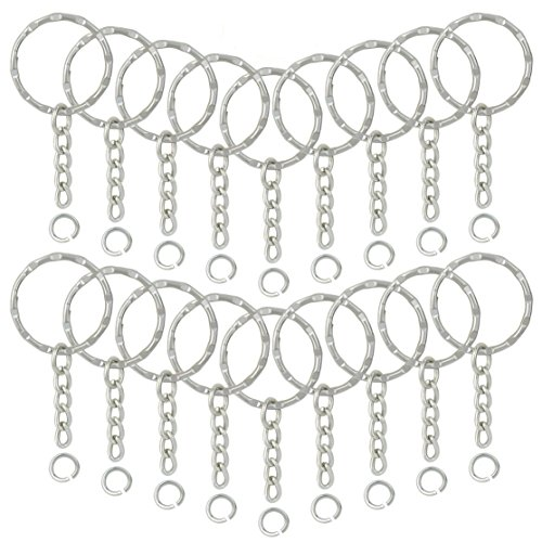 150Pcs Split Key Chain Rings with Chain and Jump Rings, Lystaii Embossed Key Rings with Flower for DIY Arts Crafts (25mm) Nickel Plated Keychain Split Rings Bulk Jewelry Findings Silver -