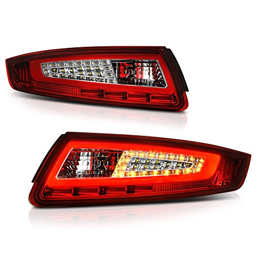 Porsche 997 Carrera Cabriolet - [Sequential Turn Signal] VIPMOTOZ Neon Tube LED Tail Light Lamp Assembly For 2005-2008 Porsche 997-Series 911 Carrera - Rosso Red Lens, Driver and Passenger Side