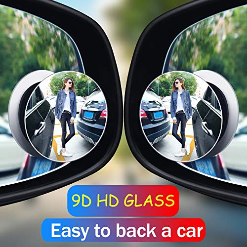 AIKESI Blind Spot Mirror Round HD Glass Frameless Convex Rear View Mirror, Rear View Mirror Accessories for Wide Angle Rearview, Pack of 2