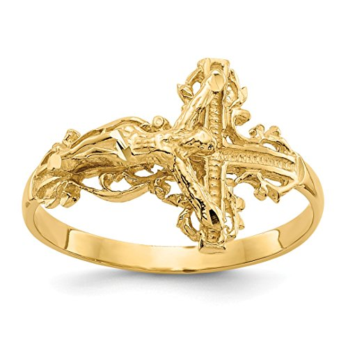 14k Yellow Gold Crucifix Cross Religious Band Ring Size 6.50 Fine Jewelry For Women Gift Set