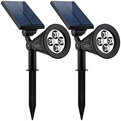 URPOWER Solar Lights 2-in-1 Solar Powered 4 LED Adjustable Spotlight Wall Light Landscape Light Bright and Dark Sensing Auto On/Off Security Night Lights for Patio Yard Driveway Pool