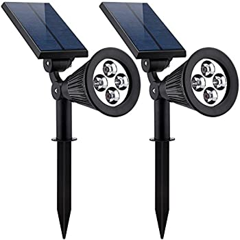 Solar Lights,URPOWER 2-in-1 Waterproof 4 LED Solar Spotlight Adjustable Wall Light Landscape Light Security Lighting Dark Sensing Auto On/Off for Patio Deck Yard Garden Driveway Pool Area(2 Pack)