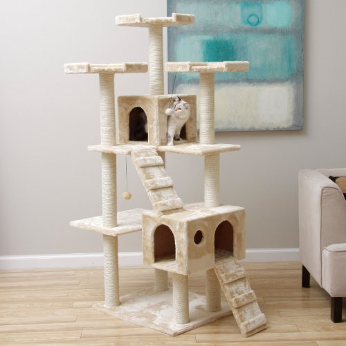 Jungle Gym Cat Condo Scratcher with Muliple Levels. Featuring Faux Fur Covering, Two Ramps, Two Houses and Multiple Perches. This Cat Tree Is Every Cat's Playground Dream!.