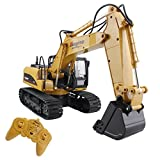RC Truck Excavator Remote Control Crawler Tractor 15 Channel 2.4G Construction Engineering Vehicle Digger Toys with Simulation Sound and Flashing Lights Full Function Hobby Electronics for Kids