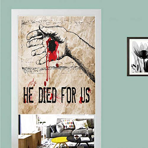 3D printed Magic Stickers Door Curtain,Quote,Bloody Hand Nailed to the Cross in Sketchy Drawing Style Religious Death Theme,Tan Scarlet Black ,Privacy Protect for Kitchen,Bathroom,Bedroom(1 Panel)