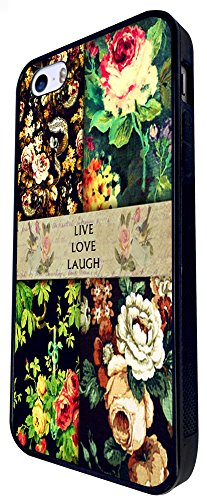 076 - Vintage Shabby Chic Live Love Laugh Floral Roses Design iphone SE - 2016 Coque Fashion Trend Case Coque Protection Cover plastique et métal - Noir