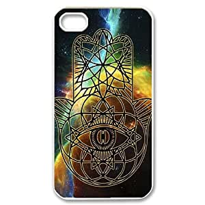 wugdiy DIY Case Cover for iPhone 4,4S with Customized Colorful Hamsa Hand