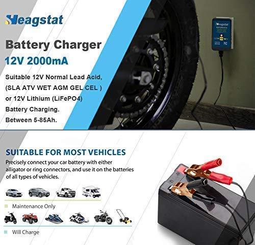 Heagstat Acid/Lithium Trickle Charger Smart for Car Lawn Boat SLA GEL CELL and More Batteries