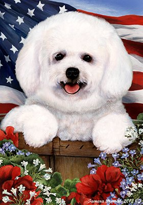 Bichon Frise - Best of Breed Patriotic Large Flags