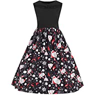 AMSKY❤Women Sleeveless Maxi Dress Christmas Printed Dress Evening Prom Costume Swing Party Cocktail Holiday Dress