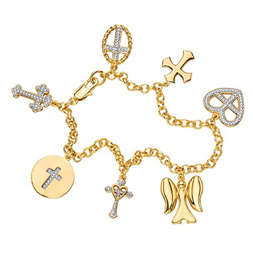 Seta Jewelry White Diamond Accent Pave-Style 18k Gold-Plated Cross and Angel Charm Bracelet 7.5