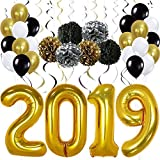 Gold 2019 Balloons Decorations Banner – Large, Pack of 49   Gold Black Silver Hanging Party Swirls, Paper Pomppoms and Balloon   Graduations Party Supplies, New Years Eve Party Supplies 2019