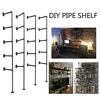 Image of Home and Kitchen Topower Industrial French Country Style Decorative Pipe Wooden Wall ShelvesRustic DIYCeiling Pipe Shelf Wall Vintage Hung Bracket Industrial Shelves (Five-Layer × 4, Black)