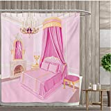 smallfly Princess Shower Curtains Waterproof Interior of Magic Princess Bedroom Old Fashioned Ornament Pillow Mirror Print Fabric Bathroom Decor Set with Hooks 69''x70'' Pink Yellow