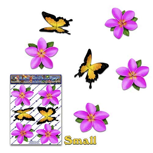 (JAS Stickers Flower Pink Small Frangipani Plumeria Butterfly Animal Car Sticker Decal Pack for Laptop Caravans, Trucks, Boats- ST00041PK_SML)