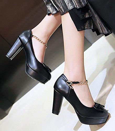 Aisun Womens Bowknot Catena Punta Tonda Low Cut Fibbia Dressy Blocco Piattaforma Tacco Alto Pompe Scarpe Con Cinturino Alla Caviglia Nero