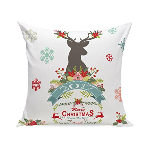 MIARHB Christmas Winter Deer, Merry Chritmas Letter Printed Cotton Linen Home Decorative Throw Pillow Case Cushion Cover for Sofa Couch(18'' x 18'', D)