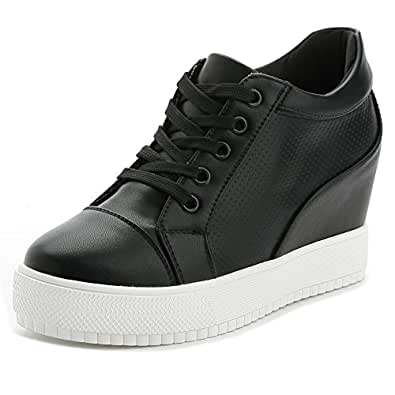 Women Wedges Sneakers with Hidden Heel Ankle High Wide Width Platform Walking Shoes Black Size: 5