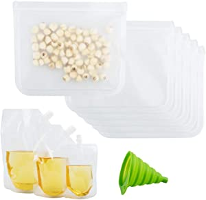 6 Pack Reusable Sandwich Bags,Sonku Clear Leakproof Zip Lock PEVA Storage Bag Perfect for Snacks Lunch Sandwiches and Make-Up with 3 Pack Plastic Flasks and 1 Pack Collapsible Silicone Funnel-9Pcs/Set