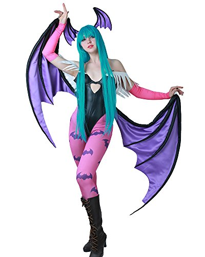 Miccostumes Womens Morrigan Aensland Cosplay Costume with Wings Leggings