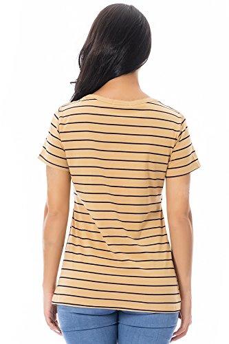 T Giallo Righe Summer Seno Infermieristica shirt A Tops Allattamento Smallshow Corte Al Maniche Donna O8Sgww