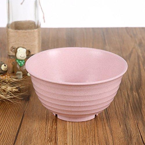 (Golandstar Wheat Straw Eco Biodegradable Unbreakable Bowl Baby Anti Hot Dinnerware Kids Children Bowls (1, Pink))