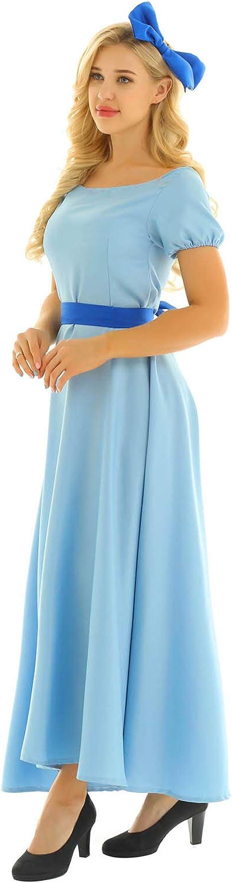 iiniim Vestido Wendy Mujer Vestido de Princesa Largo Azul Manga ...