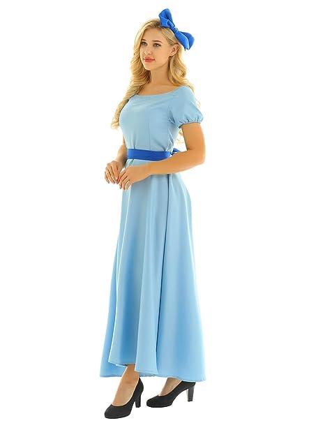 iiniim Mujer Vestido de Princesa Largo Azul Manga Corta ...