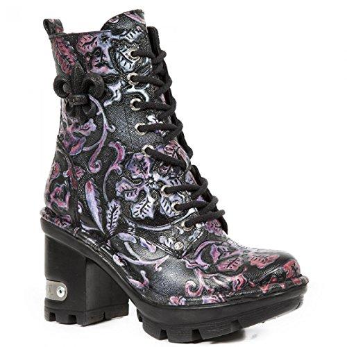 New Rock Boots M.neotyre07-s6 Gotico Hardrock Punk Damen Schnürstiefel Schwarz