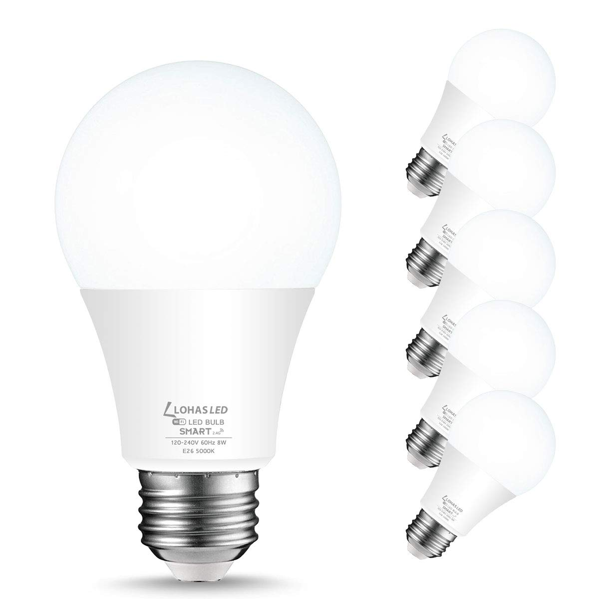 LOHAS Smart Light Bulb Dimmable LED Daylight Bulbs A19 E26, WiFi LED Bulbs, Compatible with Amazon Alexa, Google Home, Remote Control by Smartphone iOS & Android, 50W LED Light Bulb Equaivalent, 6Pack
