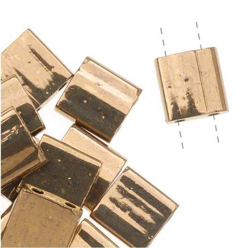 Dark Bronze Tila Beads 7.2 Gram Tube By Miyuki Are a 2 Hole Flat Square Seed Bead 5x5mm 1.9mm Thick with .8mm - Miyuki Beads Square Glass