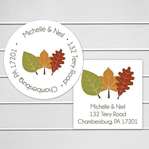 Leaves Wedding Fall Invitation (Wedding Invitation Return Address Label, Fall Leaves Return Address Sticker, Round Address Label (#042-3))