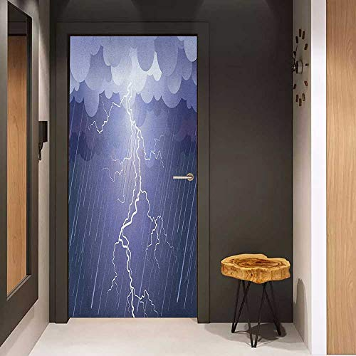 - Onefzc Pantry Sticker for Door Night Lightning Strike Thunderstorm in The Air at Dark Night Rainy Electric Force Flashes Image Sticker Removable Door Decal W30 x H80 Blue