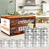 KANGORA Magnetic Spice Tins (12-Piece Set) Store Herbs, Salt, Pepper, Spices| Round Stainless Steel Spice Rack Cans with Clear Shaker Top Lid with Sift or Pour | 113 Blank & Pre-Printed Labels