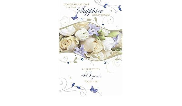 Felicidades por su aniversario de bodas de zafiro 45th rosa Tarjeta ...