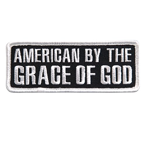 Hot Leathers, AMERICAN BY THE GRACE OF GOD, Iron-On / Saw-On Rayon PATCH - 4