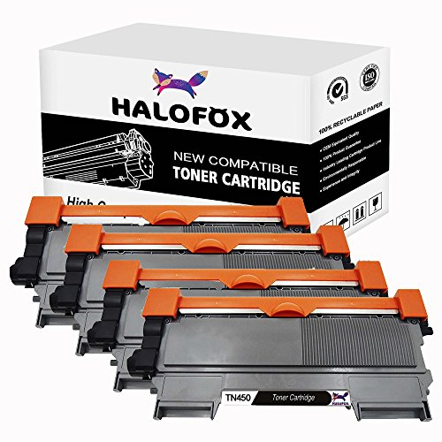 Fax Opc Drum (HaloFox 4 Pack High Yield Compatible Black Toner Replacement For Brother TN450 TN420 HL-2270DW HL-2240 HL-2280DW Intellifax 2840 MFC-7360N MFC-7860DW MFC-7460DN DCP-7065D Printer (With Premium Toner))