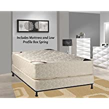Spring Solution, 14-inch Firm Innerspring Tight Top Double Sided Mattress and 4-inch Box Spring / Foundation Set, No Assembly Required Queen Size