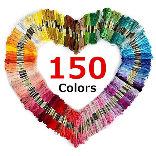 (ArtioHipo Embroidery Floss Premium Rainbow Color - Cotton Embroidery & Crossstitch Floss - Crafts Floss - Cross Stitch Threads - Friendship Bracelets Floss - 150 Skeins Per Pack)