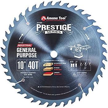 Amana Tool PR1040 Electro-Blue Carbide Tipped Prestige 10 Inch D 40T ATB, 18 Deg, 5/8 Bore, Non-Stick Coated Circular Saw Blade