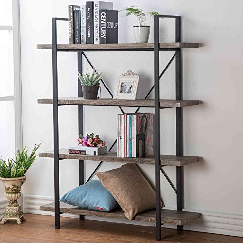 (HSH Furniture 4-Shelf Vintage Industrial Bookshelf, Rustic Wood and Metal Bookcase, Open Wide Office Etagere Book Shelf, Dark Oak)