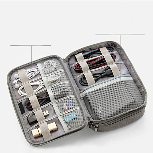 Double Layer Travel Universal Cable Organizer Cases Electronics Accessories Storage Bag for Various USB, Mouse, Earphone,Cable and Charger #81429 (Grey) by Beststar (Image #4)